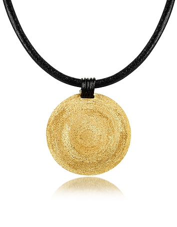 Stefano Patriarchi - Golden Silver Etched Medium Round Pendant w/Leather Lace