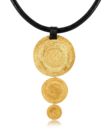 Stefano Patriarchi - Golden Silver Etched Triple Round Pendant w/Leather Lace