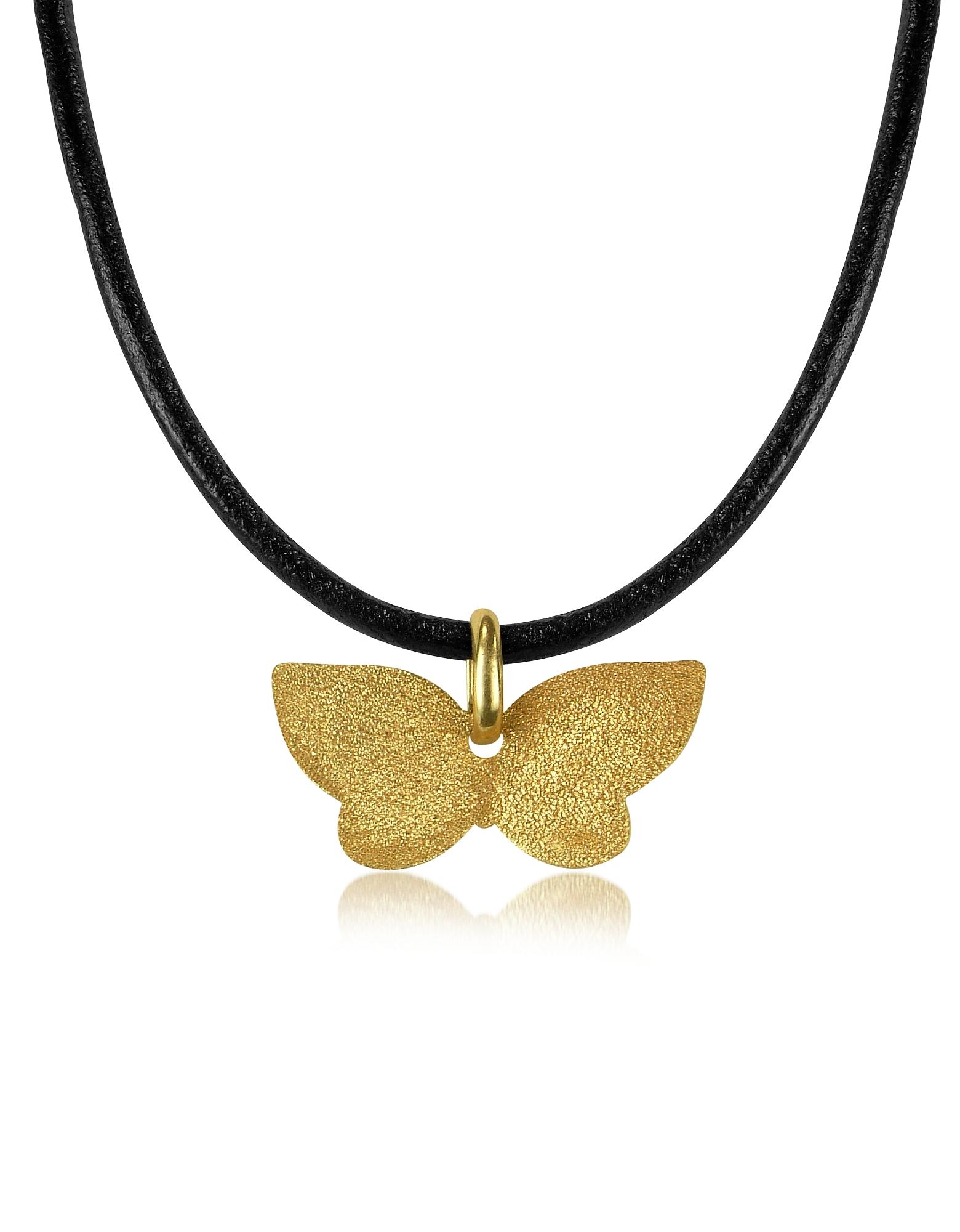Золотистая Точеная Подвеска-Бабочка из Серебра на Кожаном Шнурке