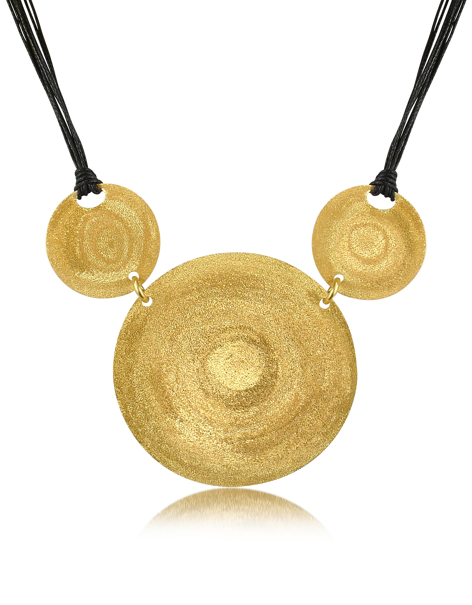 Stefano Patriarchi Necklaces, Golden Silver Etched Triple Round Pendant w/Leather Lace