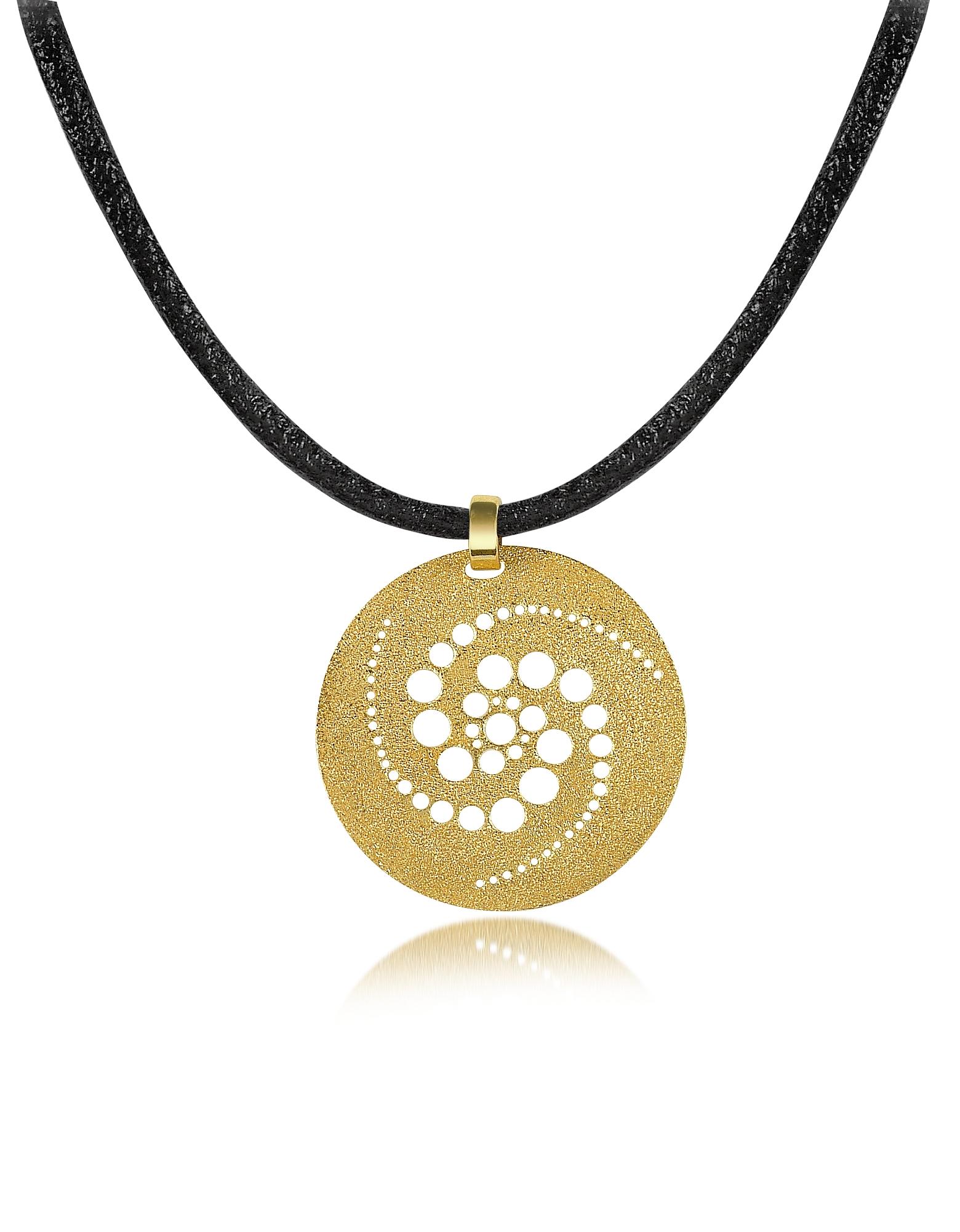 Золотистая Круглая Подвеска из Серебра, Стилизованная под Космические Круги, на Кожаном Шнурке