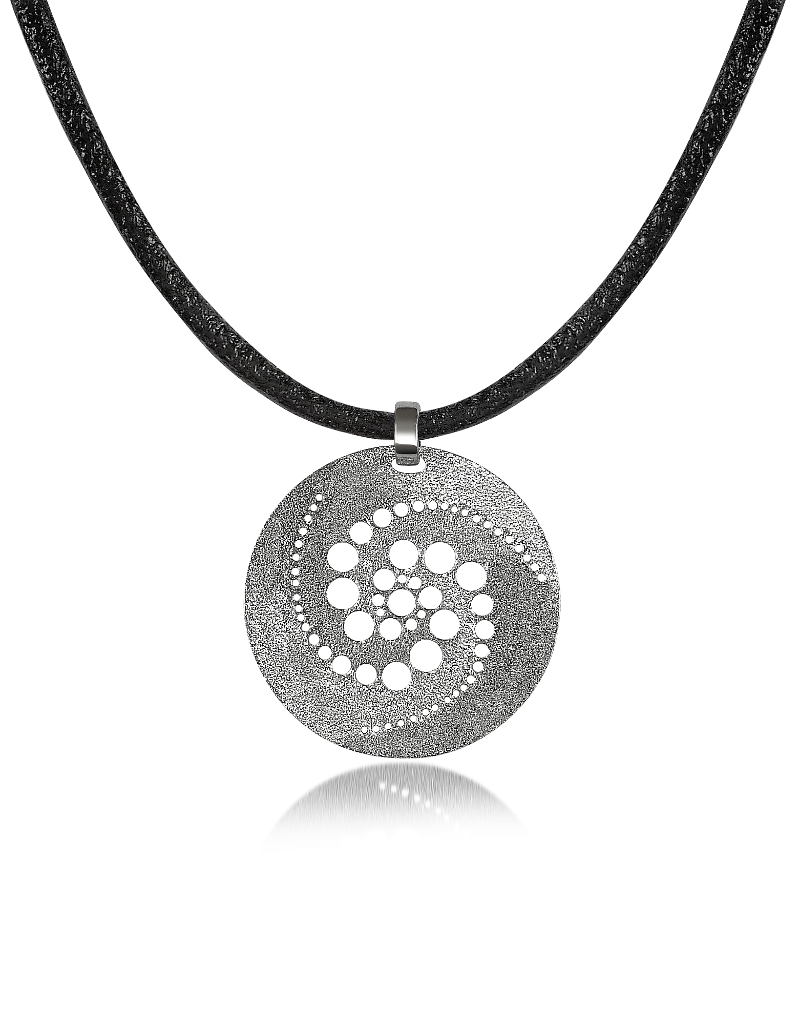 Stefano Patriarchi Necklaces, Silver Etched Crop Circle Round Pendant w/Leather Lace