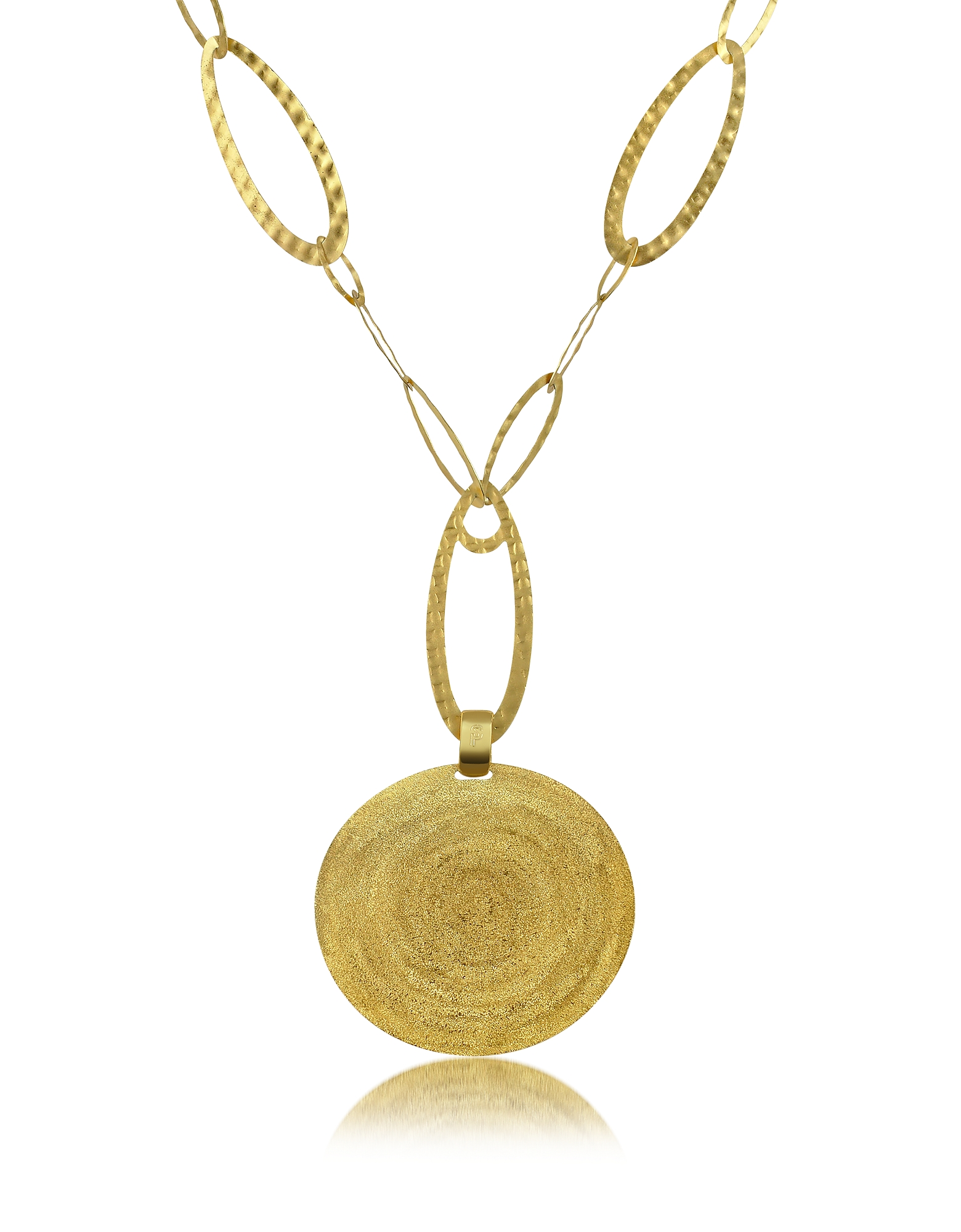 Stefano Patriarchi Necklaces, Golden Silver Etched Round Pendant Chain Necklace