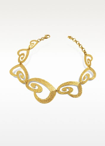 Etched Golden Silver Cut-Out Heart Link Bracelet  - Stefano Patriarchi