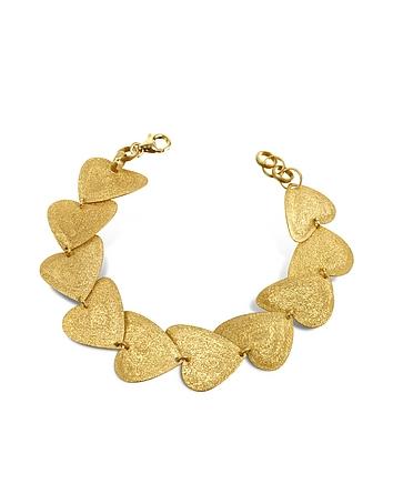 Stefano Patriarchi - Etched Golden Silver Heart Link Bracelet