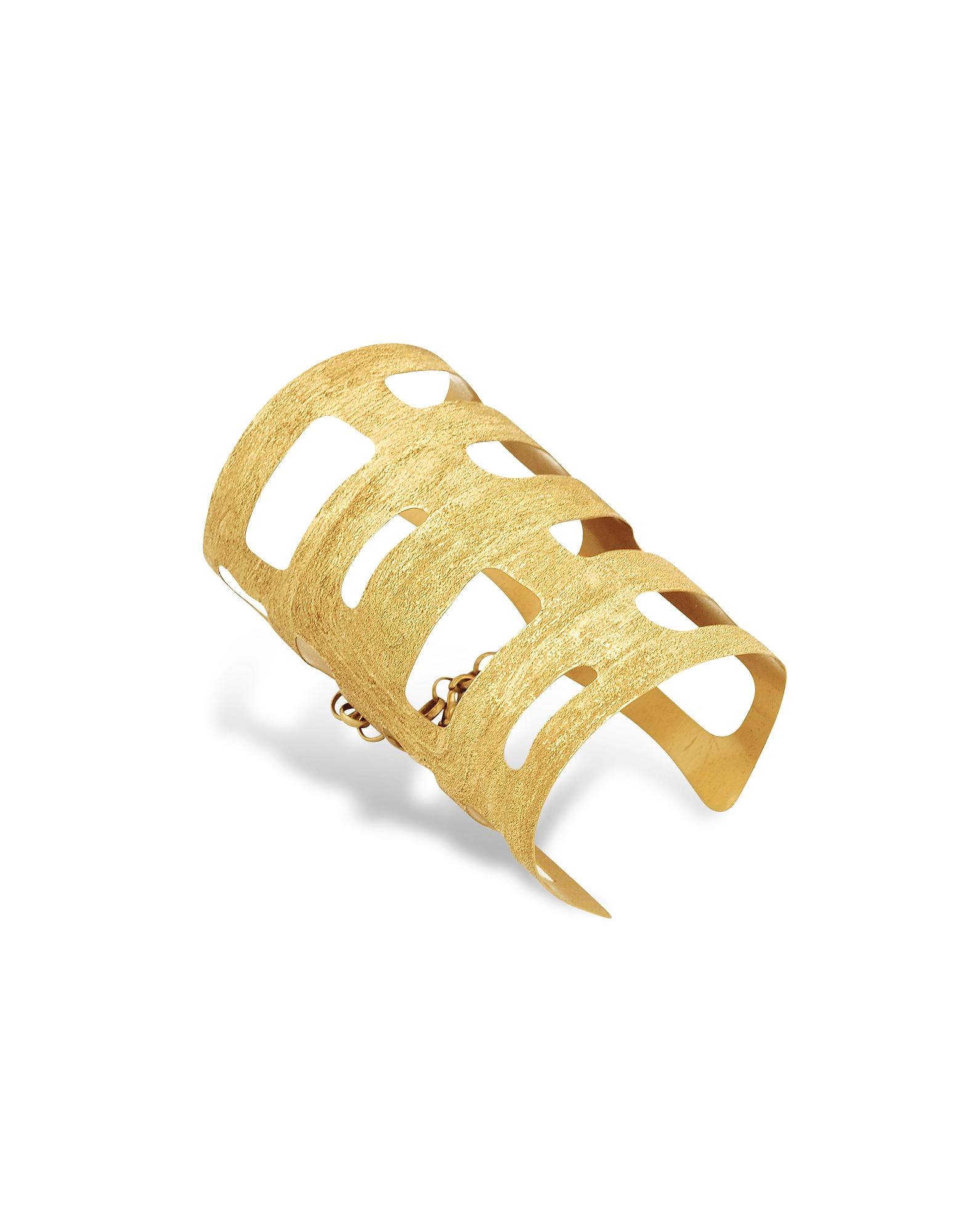 Stefano Patriarchi Bracelets, Golden Silver Etched Cut Out Medium Cuff Bracelet