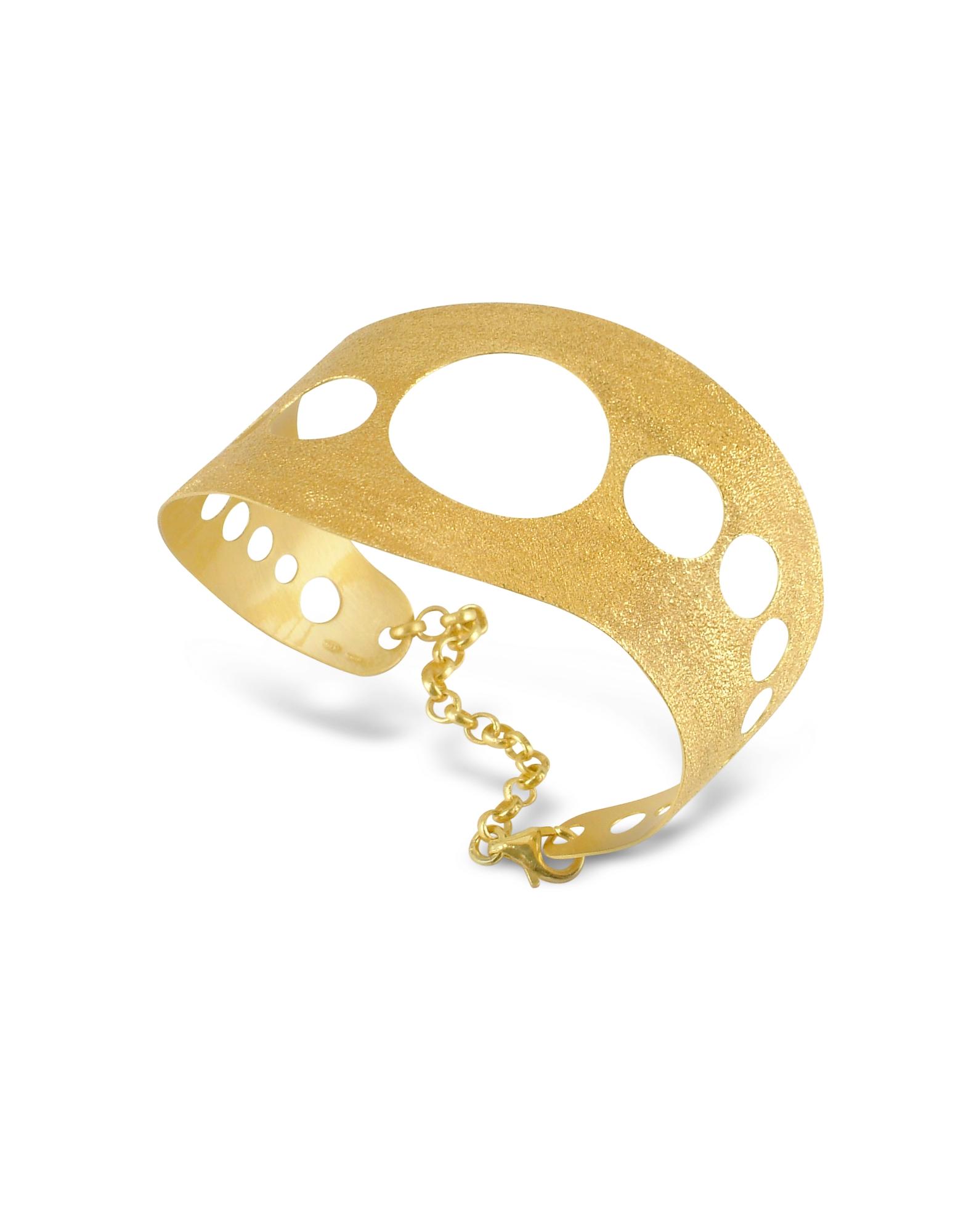 Stefano Patriarchi Bracelets, Golden Silver Etched Cut Out Cuff Bracelet