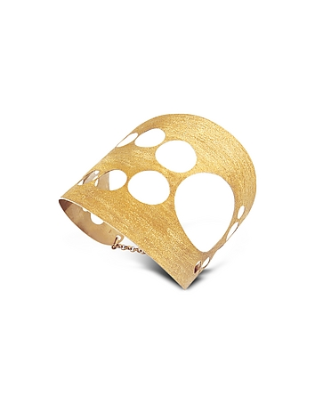Stefano Patriarchi - Golden Silver Etched Cut Out Tall Cuff Bracelet