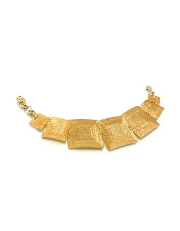 Stefano Patriarchi - Golden Silver Etched Square Link Bracelet