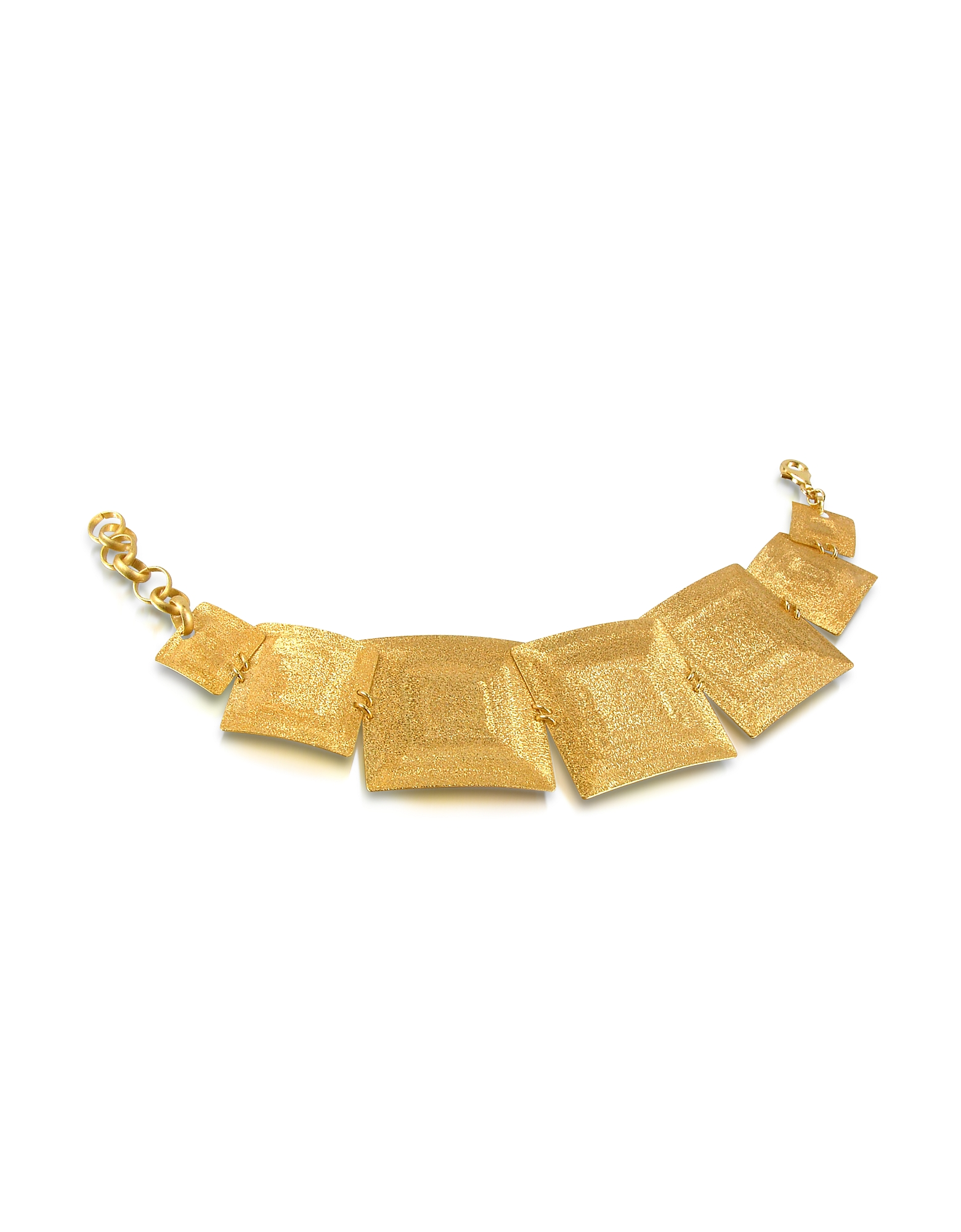 Stefano Patriarchi Bracelets, Golden Silver Etched Square Link Bracelet