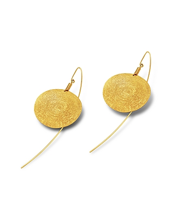 Stefano Patriarchi - Golden Silver Etched Round Drop Earrings