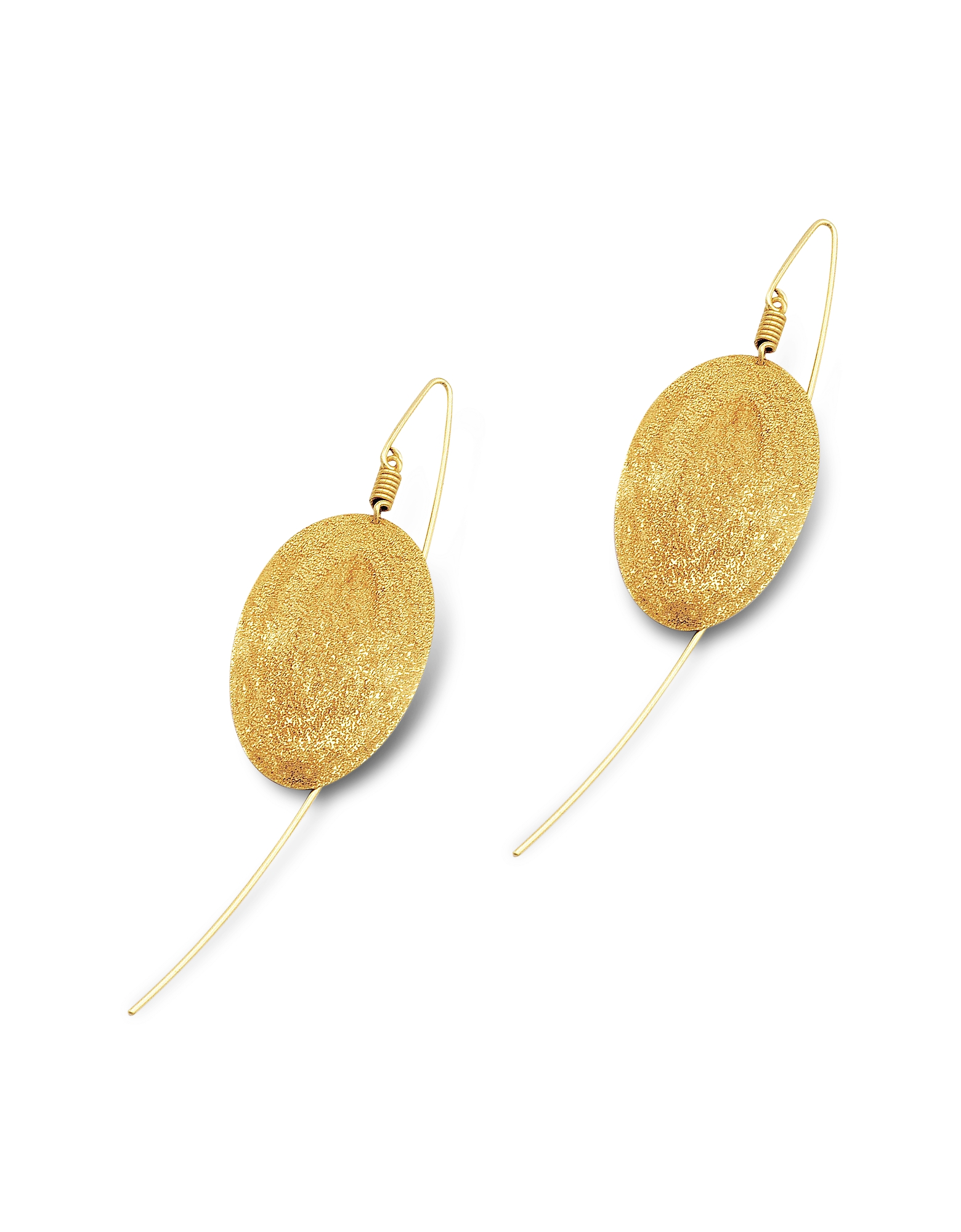 Golden Silver Etched Oval Drop Earrings