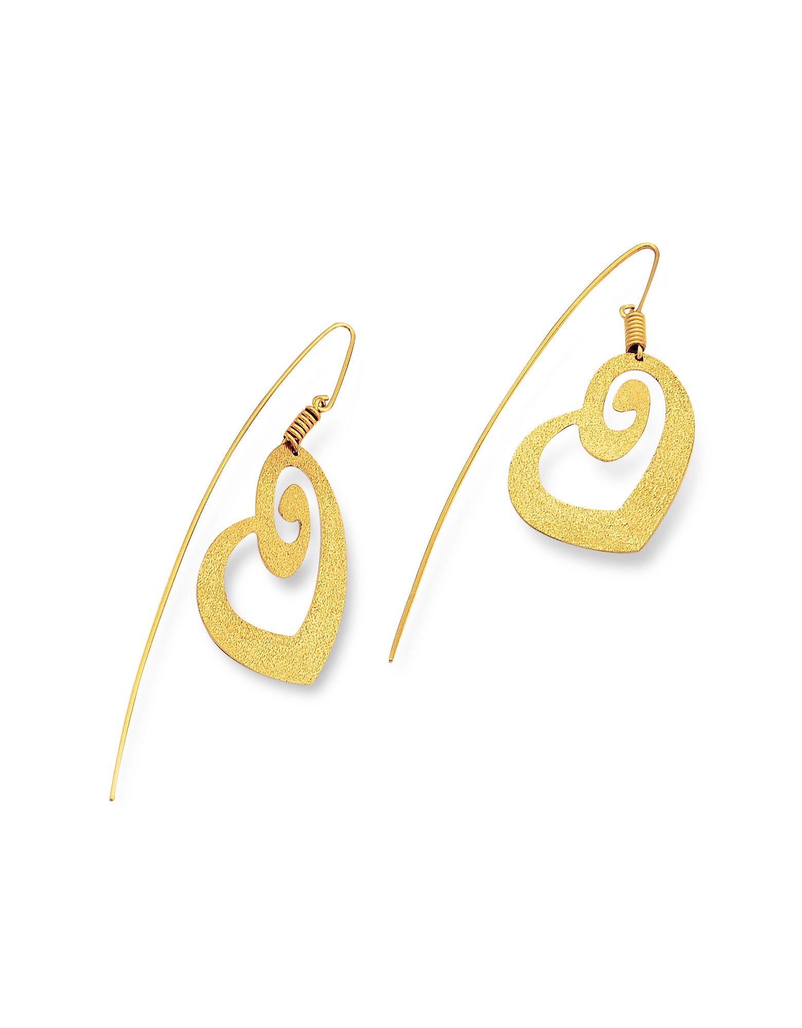 Stefano Patriarchi Earrings, Golden Silver Etched Heart Drop Earrings