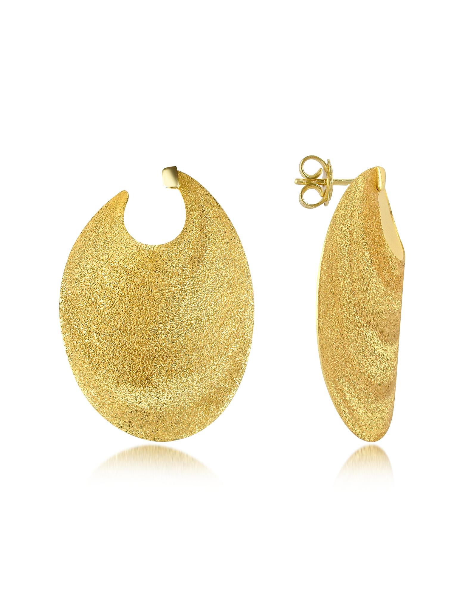 Stefano Patriarchi Earrings, Golden Silver Etched Oval Shield Drop Earrings