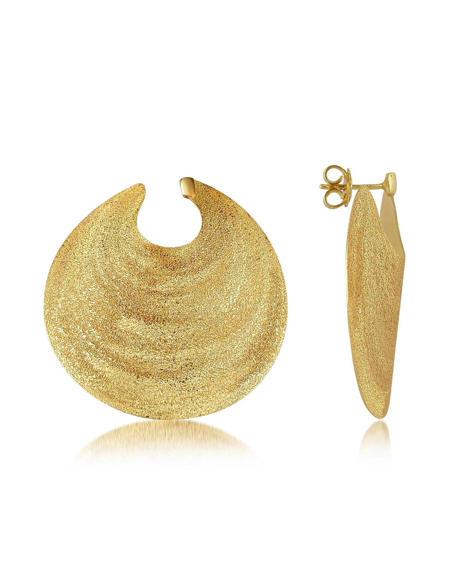 Золотистые Серьги из Серебра в Форме Круглых Дисков
