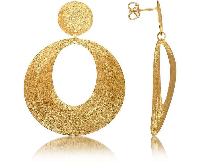 Golden Silver Etched Oval Cut Out Drop Earrings - Stefano Patriarchi