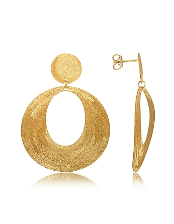 Stefano Patriarchi - Golden Silver Etched Oval Cut Out Drop Earrings