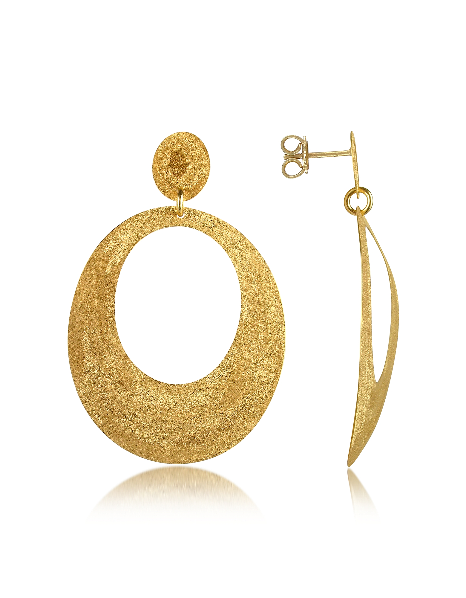 Золотистые Точеные Овальные Серьги из Серебра