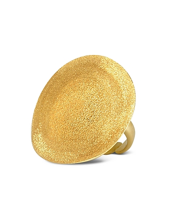 Stefano Patriarchi - Golden Silver Etched Round Ring