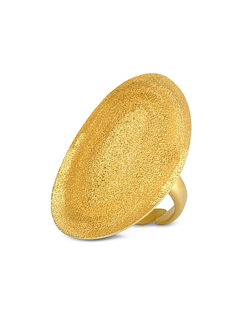Stefano Patriarchi - Golden Silver Etched Oval Ring