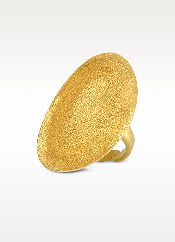 Golden Silver Etched Oval Ring - Stefano Patriarchi