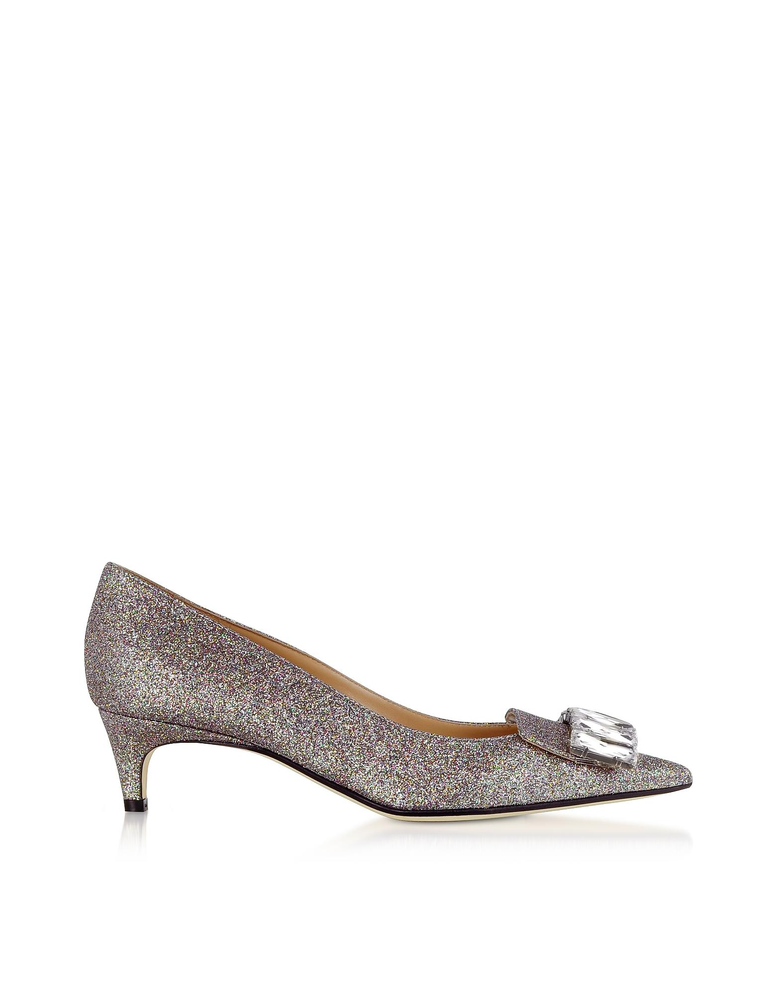 Sergio Rossi Designer Shoes, Glitterama Silver Mid-Heel Pumps