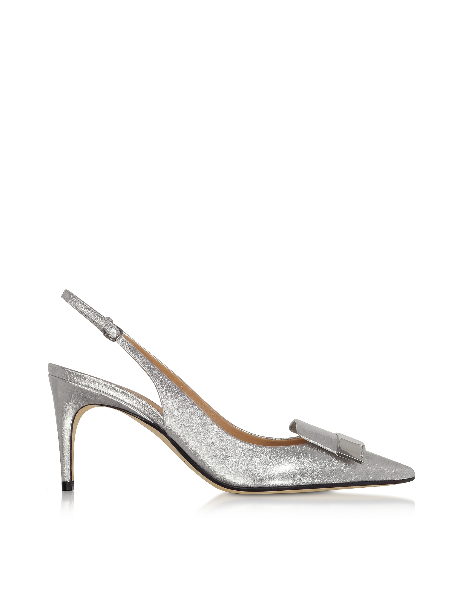 Sergio Rossi Designer Shoes, Silver Glacee Mid-heel Slingback Pumps