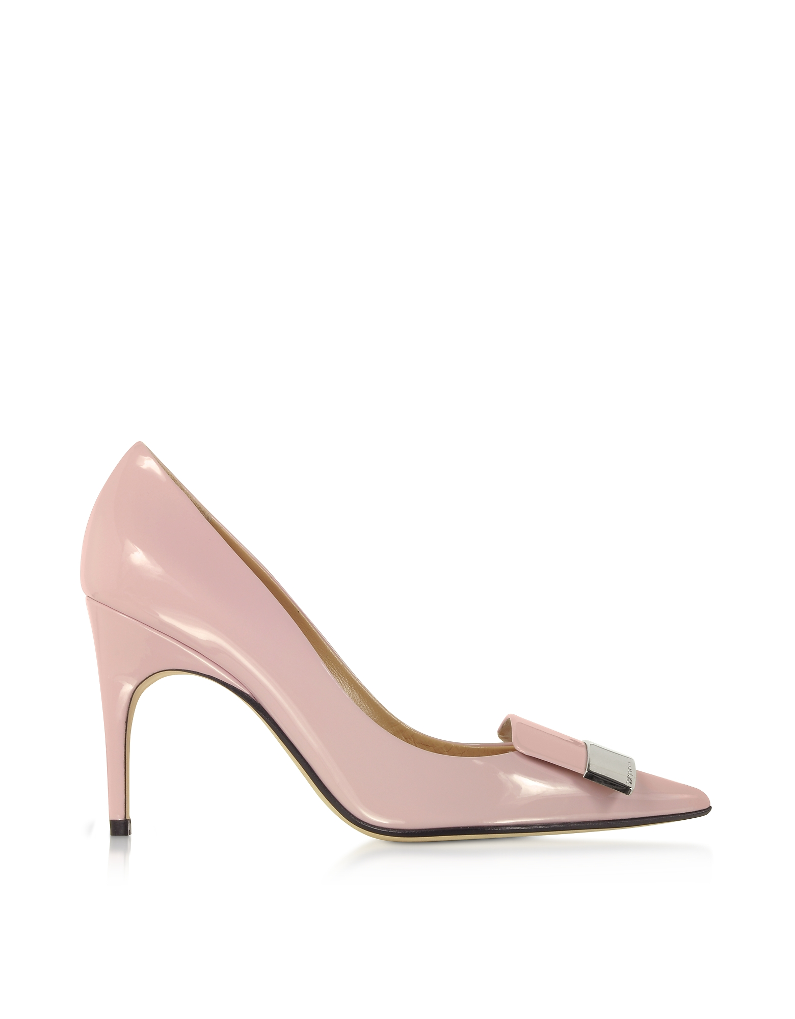 Sergio Rossi Designer Shoes, Soft Blush Patent Leather Pumps