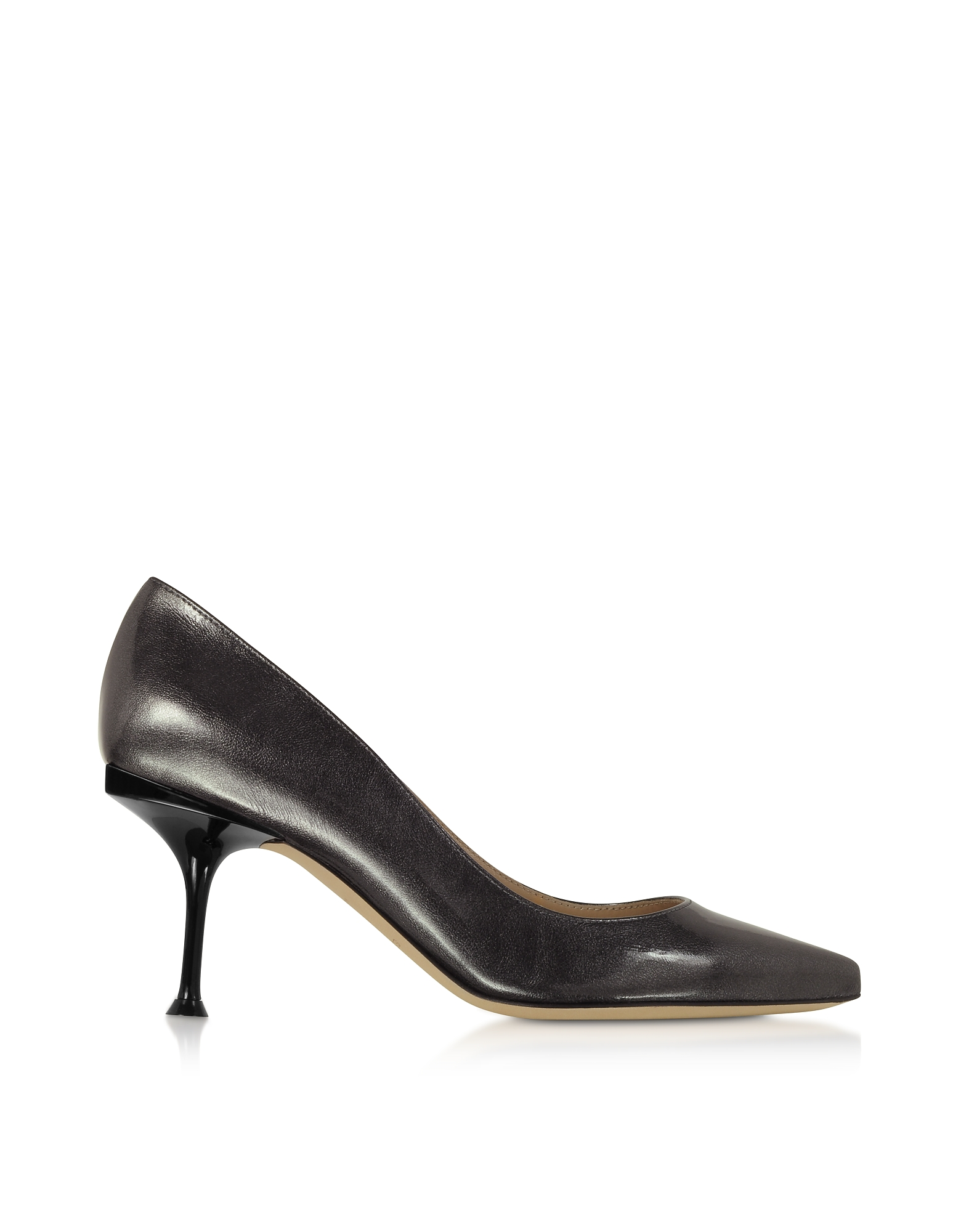 Glacee Anthracite Metallic Leather Pumps