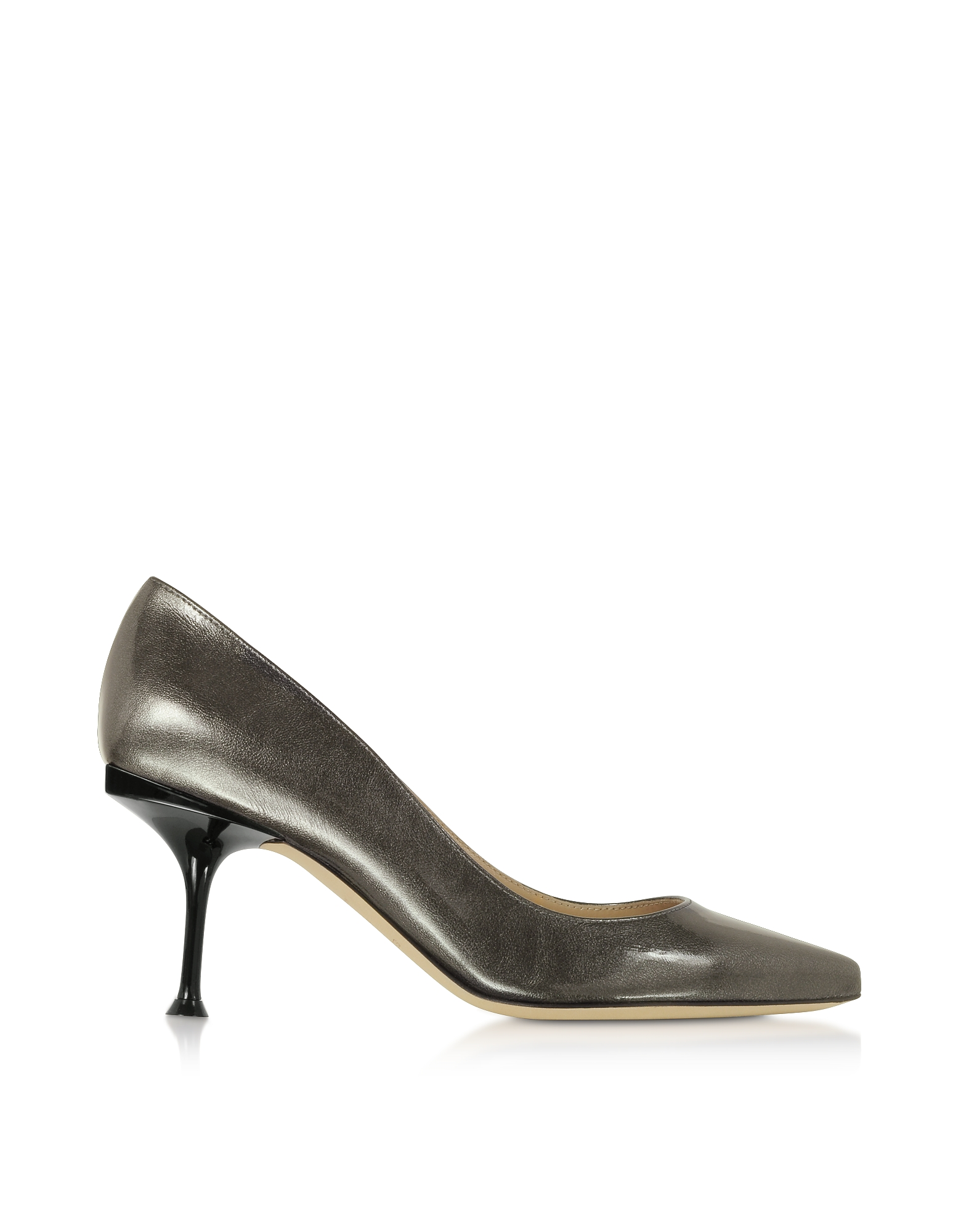 Sergio Rossi Designer Shoes, Glacee Anthracite Metallic Leather Pumps
