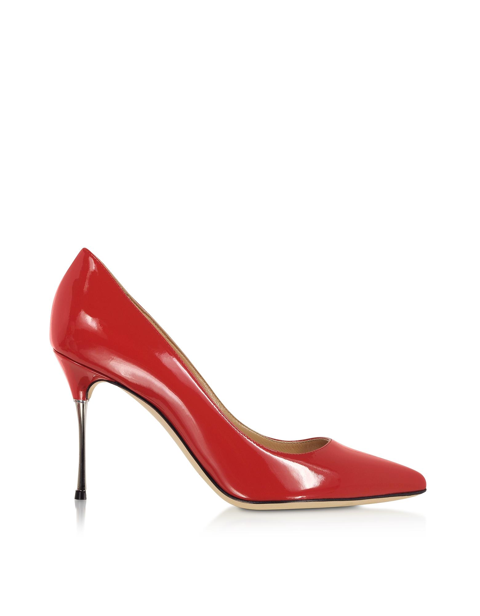Carminio Red Soft Patent Leather Pumps