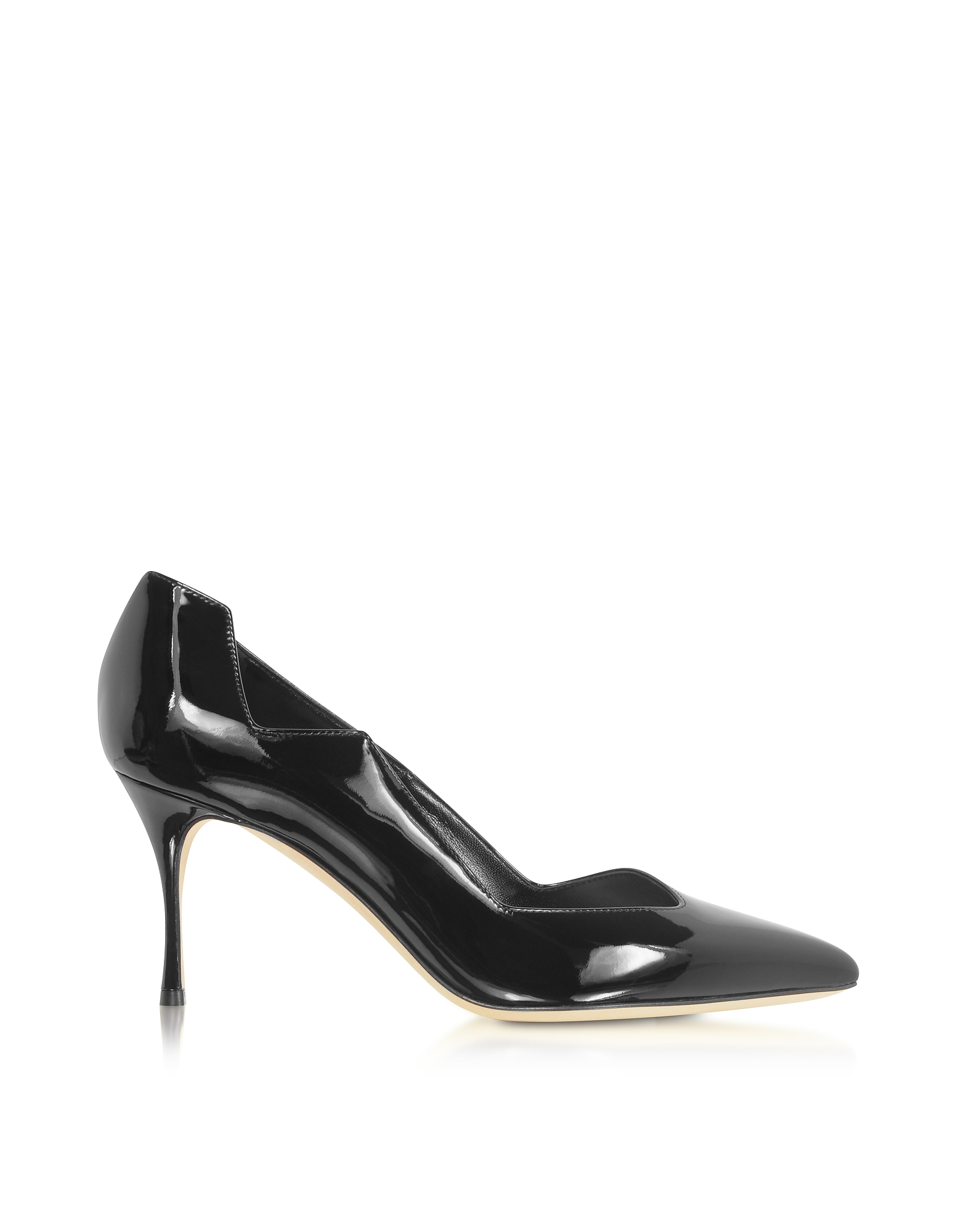 Sergio Rossi Designer Shoes, Black Soft Patent Leather Godiva Waves Pumps