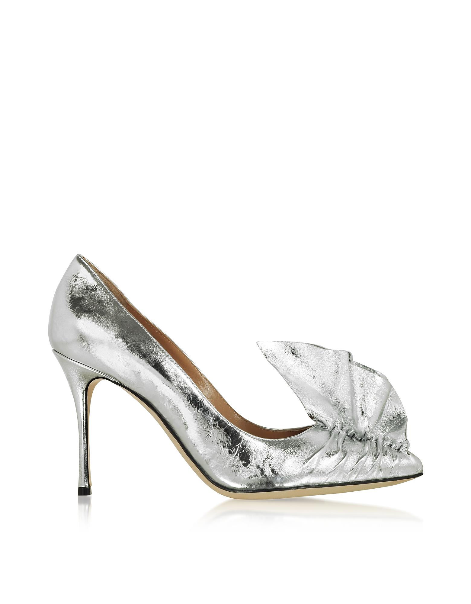 Sergio Rossi Designer Shoes, Godiva Silver Crash Lak Décolleté