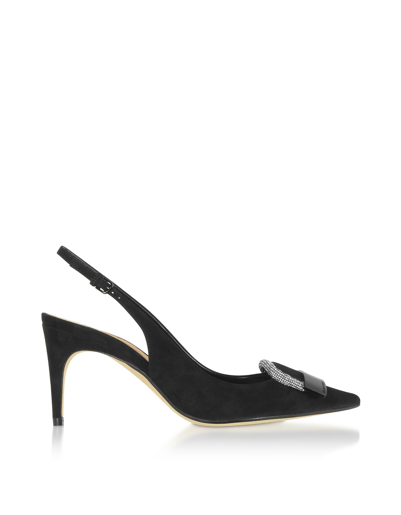 Sergio Rossi Designer Shoes, sr1 Black Royal Slingbacks w/ Crystals