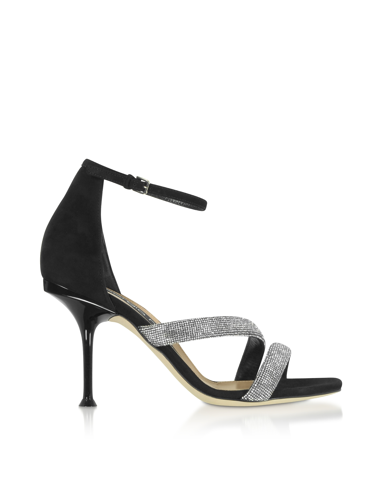 sr Milano Black Royal Heels w/ Crystals