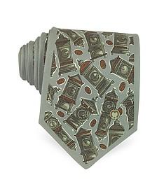 Khaki Master Clock Print Silk Tie - Mila Schon