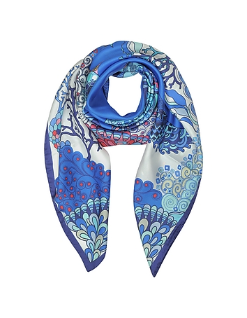 Mila Schon - Seahorses and Coral Reefs Print Twill Silk Square Scarf