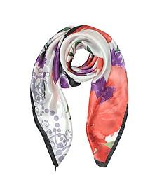 Floral Print Twill Silk Square Scarf - Mila Schon