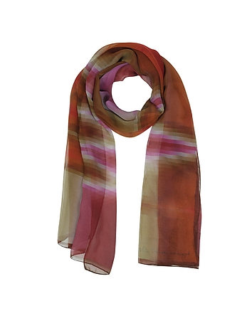Mila Schon - Gradient Pink/Orange & Stripe Print Silk Long Scarf