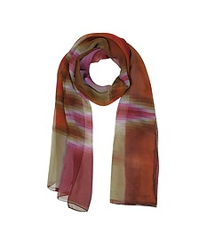 Gradient Pink/Orange & Stripe Print Silk Long Scarf - Mila Schon