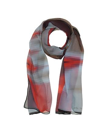 Gradient Red/Light Blue & Stripe Print Silk Long Scarf