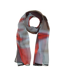 Gradient Red/Light Blue & Stripe Print Silk Long Scarf  - Mila Schon