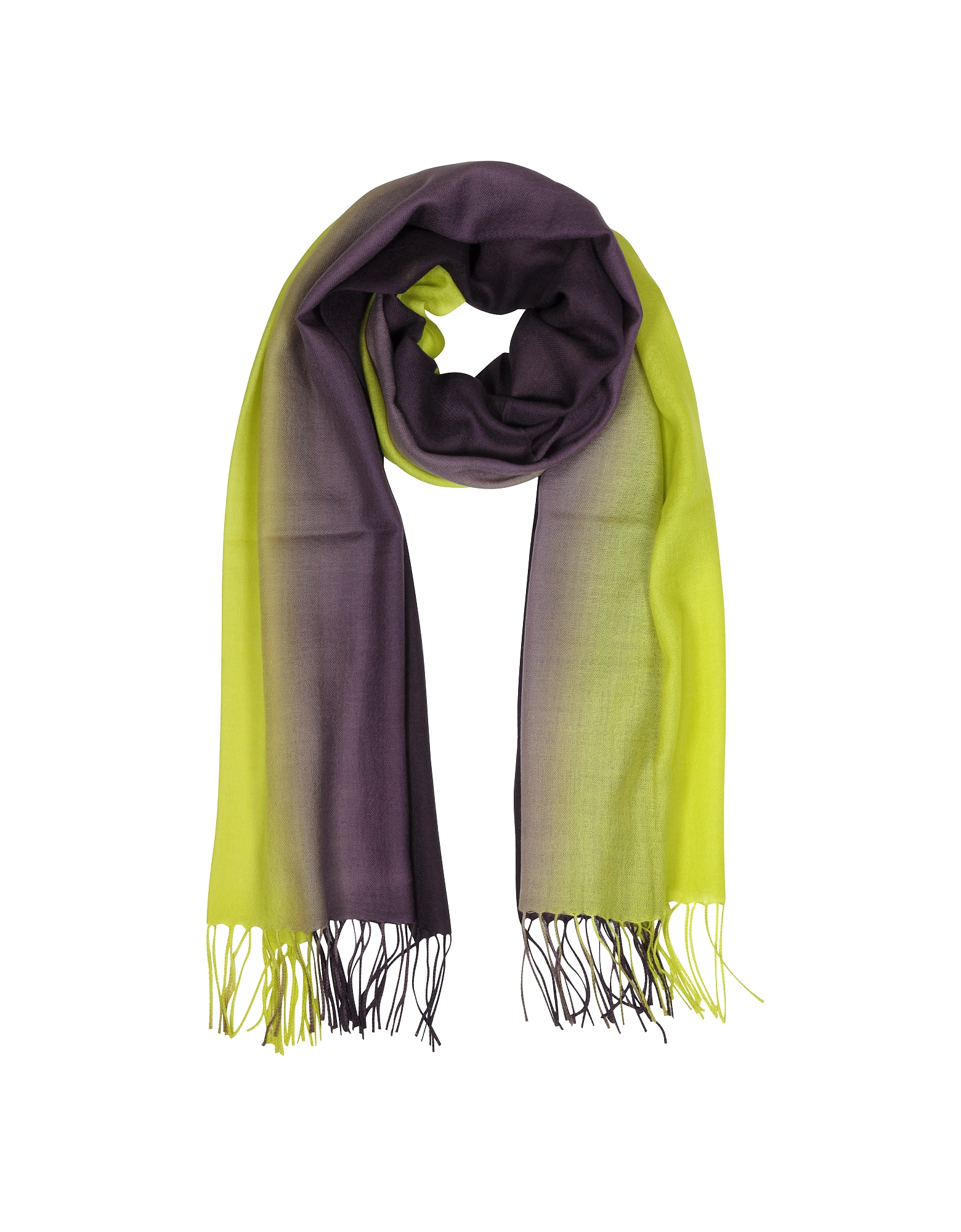 Mila Schon Long Scarves, Cashmere and Wool Fringed Stole