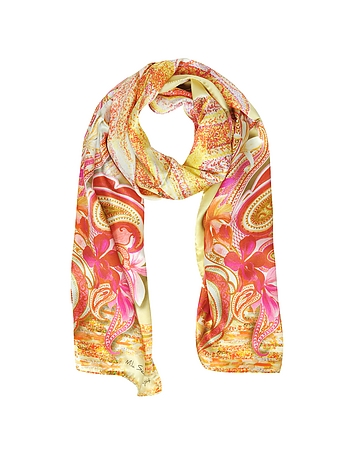 Mila Schon - Flowers and Paisley Print Silk Stole