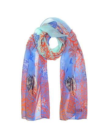 Mila Schon - Light Blue Coral Reef Printed Chiffon Silk Stole