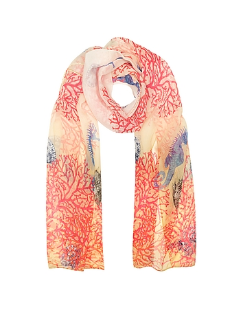 Mila Schon - Ivory Coral Reef Printed Chiffon Silk Stole