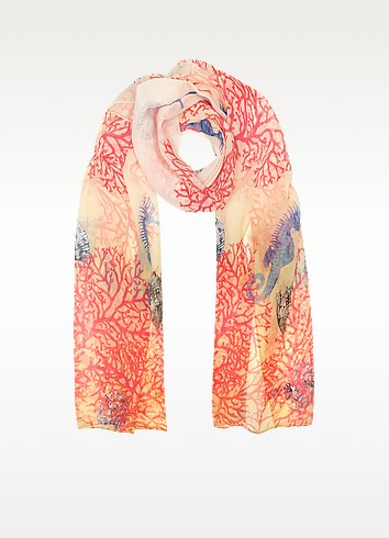 Ivory Coral Reef Printed Chiffon Silk Stole - Mila Schon