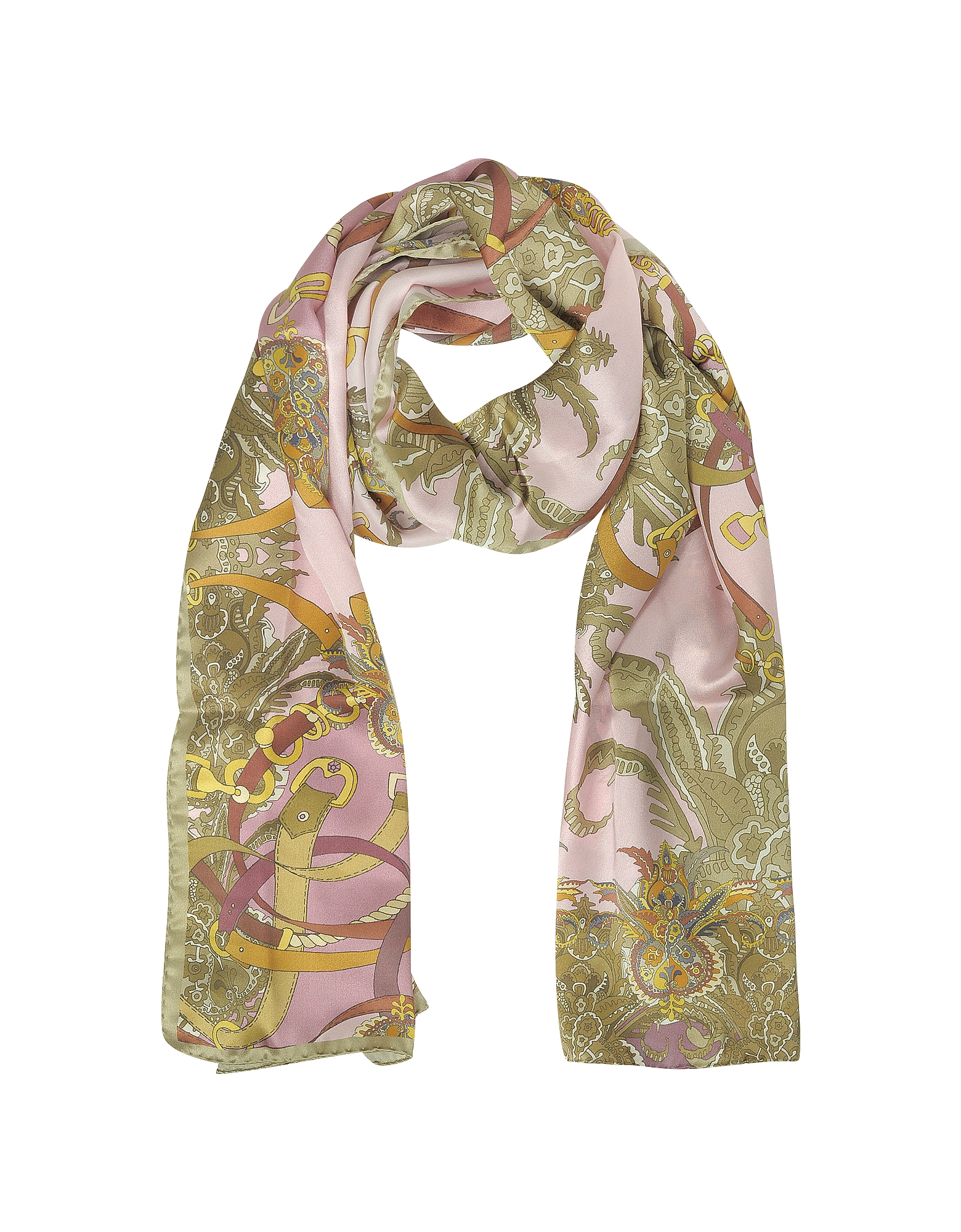 Mila Schon Long Scarves, Ornamental and Pattern Printed Satin Silk Stole
