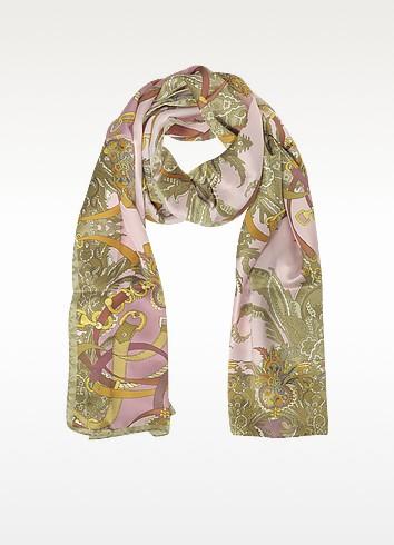 Ornamental and Pattern Printed Satin Silk Stole - Mila Schon