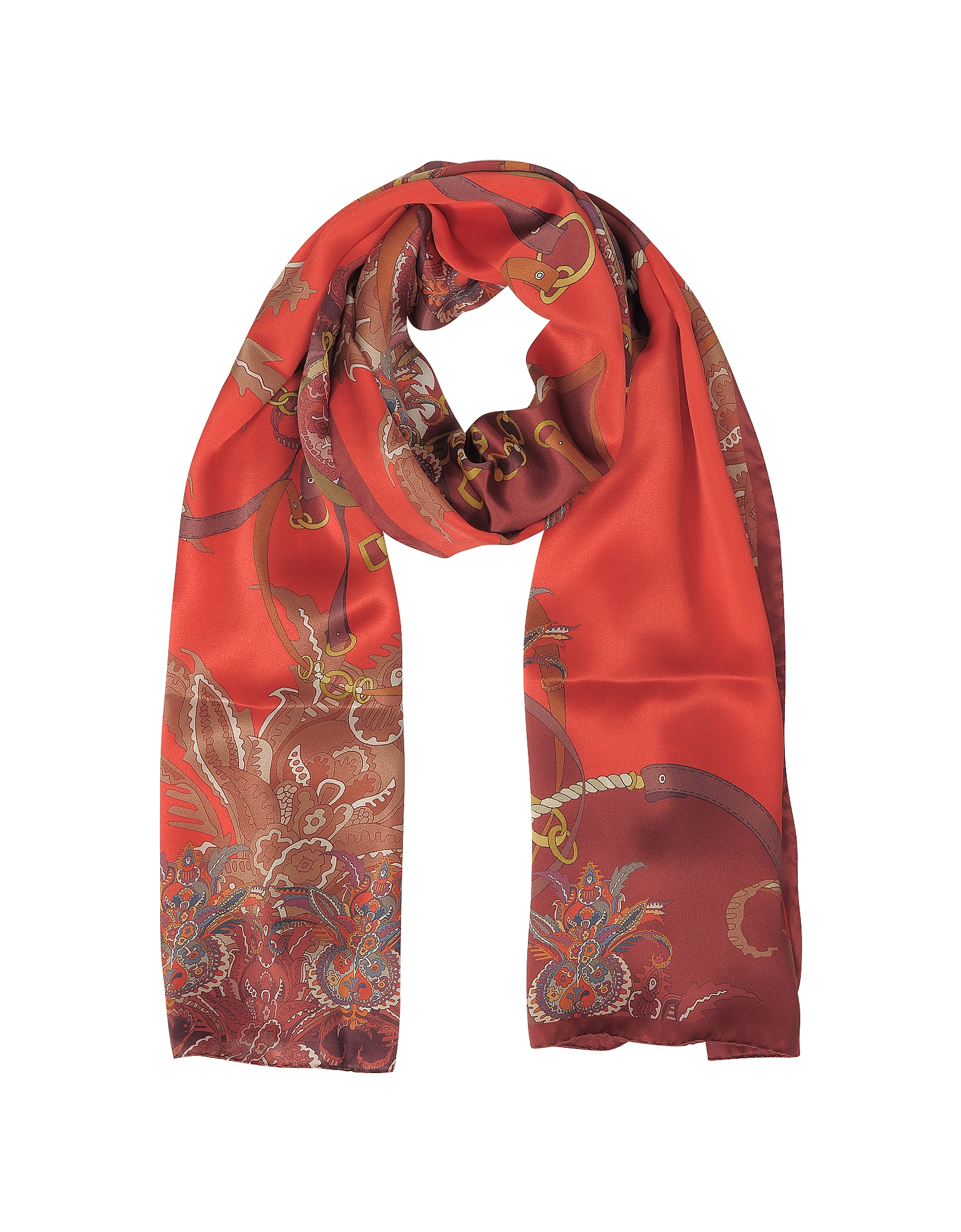 Mila Schon Scarves, Ornamental and Pattern Printed Satin Silk Stole